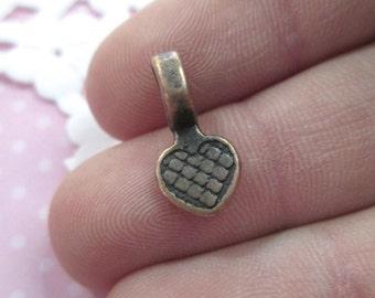 Copper Heart Pendant Bails, Glue On Flat Pad Jewelry Findings, 15x8x6mm