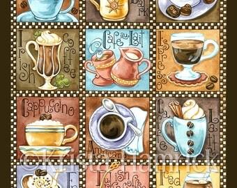 Coffee Break-- original art print 8X10, 11X14