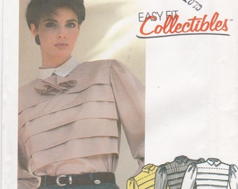 Uncut McCall's Sewing Pattern 2072 Front Tucked Top Blouse and Tie Misses' Size 10 Bust 32.5
