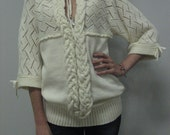 Knitted Alpaca Cream Woolen Winter Glamour  Crocheted Lacy Tunic Ivory Crocheted  Dress
