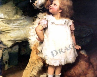 "Charles Burton Barber ""Who's Taller""  Reproduction Digital Print  Dog Little Girl"