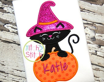 Halloween Kitty Cat Witch In Pumpkin Embroidered Shirt FREE Personalization