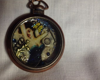 Pin-up girl Pocket watch style pendant