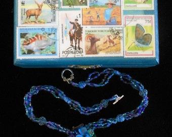 Woodland Garden Necklace, Blue