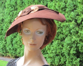 1930s Brown Wide Brimmed Hat
