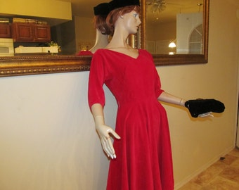 1960s Red Velvet Party Dress by Leo Danel, Toronto. SIze 8.