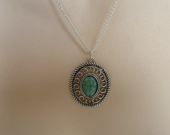 Fabulous  Silver Necklace, Turquoise Stone, Pendant, Silver Necklace