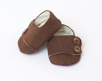 Baby Shoes Baby Boy Shoes Toddler Boy Shoes Soft Sole Shoes Fall Shoes Winter Shoes Brown Shoes with Buttons