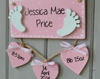 Baby birth details plaque Personalised baby gift and Birth Keepsake sign tiny feet