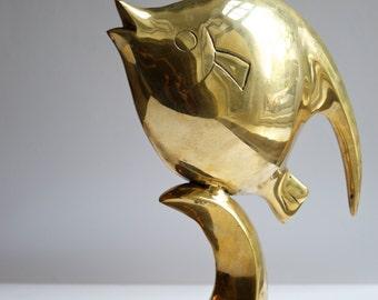 Vintage Brass 1980s Fish Sculpture Vintage Decor