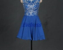 Short royal blue chiffon homecoming dress,Sparkly prom dresses with sequins,2016 cheap women gowns for party hot.