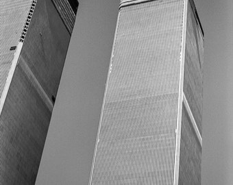 Vintage Black and White Photography Fine Art Print, World Trade Center Under Construction