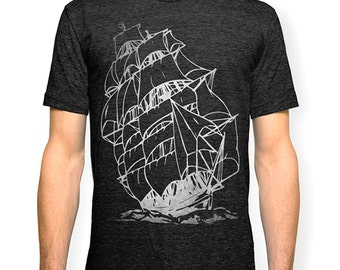 Pirate Ship T-shirt, Nautical T shirt, Sailing Ship t-shirt, Screen print tee, Tall Ship t-shirt, Marine tshirt, from Signal Whiskey.