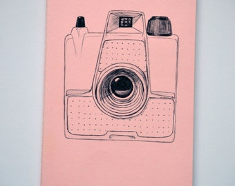 Camera Moleskine Cahier Notebook Journal . Lined pages . Large . Pastel . Pink