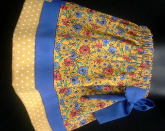 Cotton Skirt ~ Apricot, Floral, Flowers, Handmade, Infant Baby 6 12 18 Toddler 2T 3T 4T 5 6 Elastic Waist. Tiered, Knee Length, Twirl Skirt