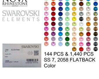SS 7 Swarovski Element Flatback Not Hotfix 2058 COLOR 144pcs or 1440pcs your choice 58 colors to choose from