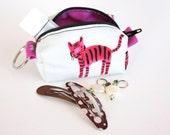 Pretty Little Pouch, mini zipper pouch, pink tiger
