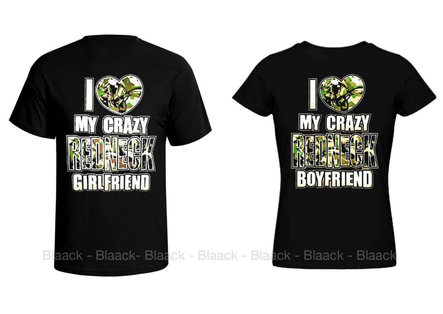 Couple t shirt i love my crazy redneck girlfriend for Made to order shirts online