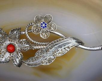 Turkish Sterling Filigree Flower Pin
