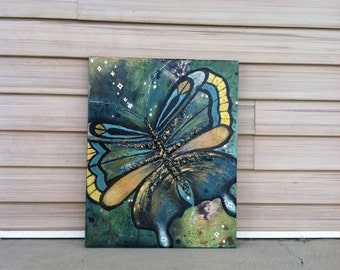 16x20 butterfly and angels painting