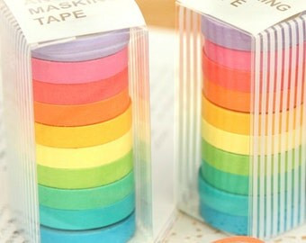 Japanese Angoo Masking Tape Set candy color Tape Set - 7mm wide - 5.5 Yards (each roll) - 10 rolls,can write, can be shredded