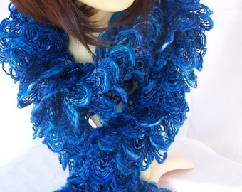 Hand Knitted Blue Frilly Scarf - Free Shipping