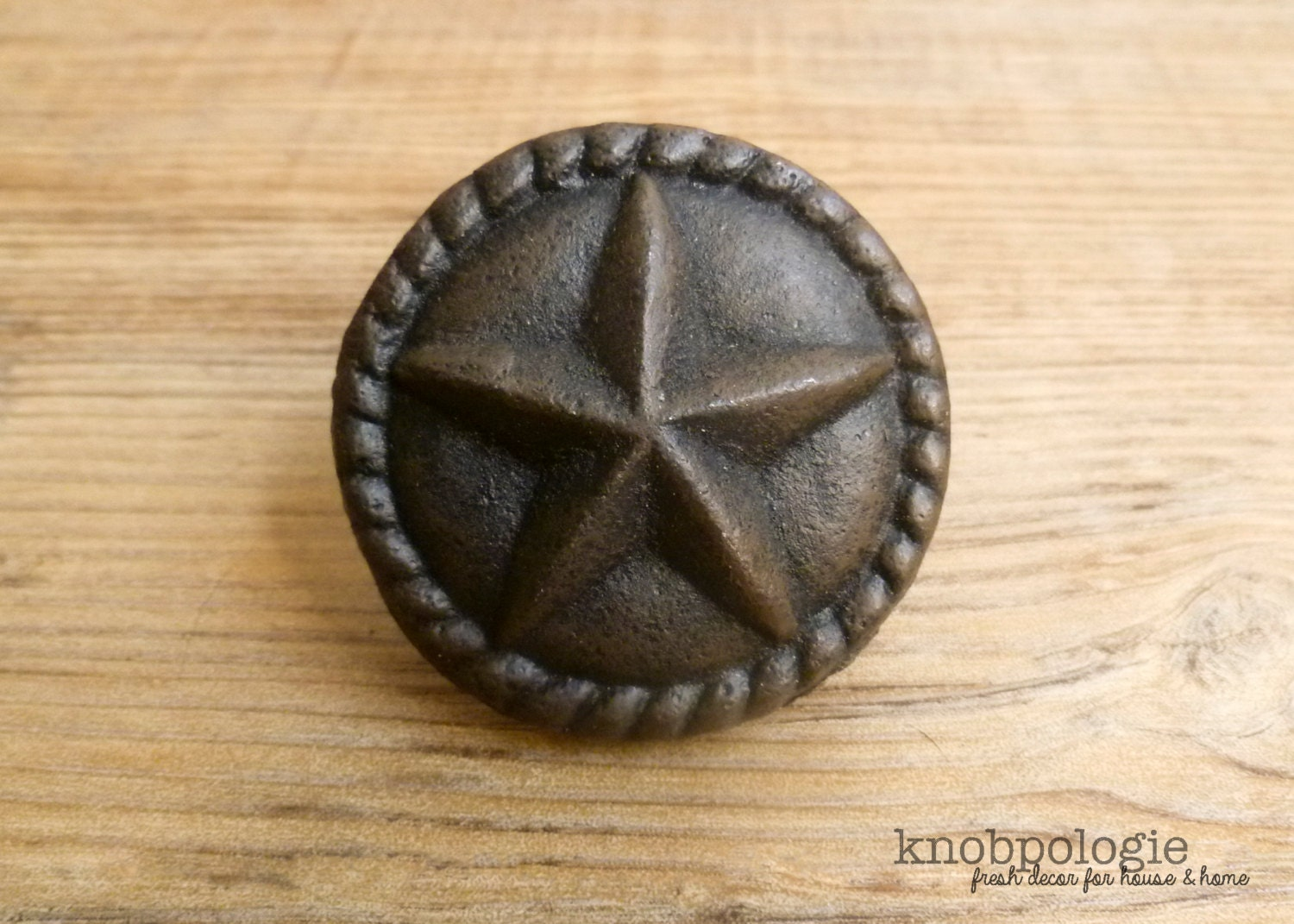Large 2 cast iron star knob with rope border texas for Star cabinet pulls