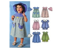 Girls Summer Sundress Pattern, Top, Panties and Hat, Infant/Toddler Size 6 Months, 1, 2, 3, 4 Easy to Sew Uncut Simplicity 7189