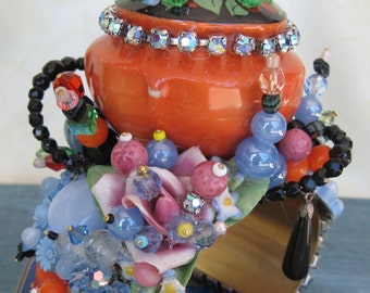 Art Couture Pepper Shaker Cuff Bracelet, Repurposed Vintage Jewelry, Hand Crafted OOAK, Art Glass Beads