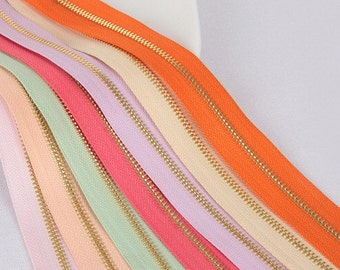 1 Yard 3# Chain Zipper, 90 cm,Specially for handmade bags, Golden Teeth, All Colors You can Imagine Available
