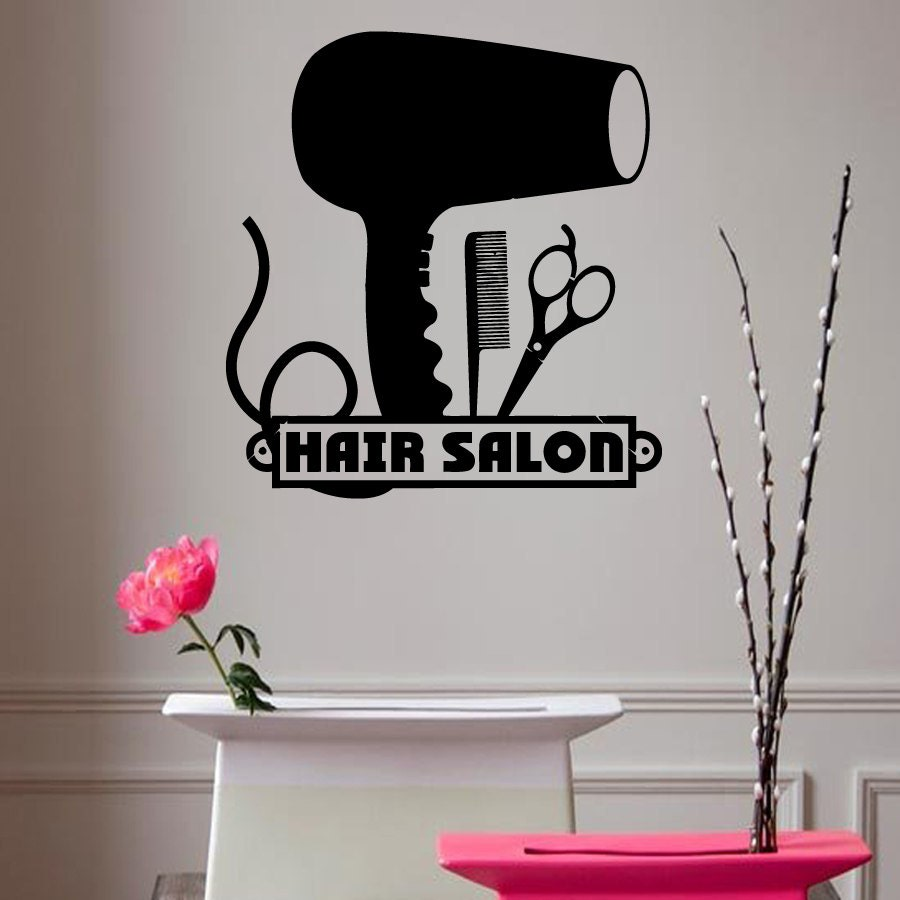 Hair dryer wall decals hairdressing salon by decalmyhappyshop for Salon pictures for wall