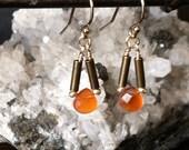 Tiny Pivot Earrings with Carnelian