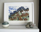 Linocut Print - EIGHTEEN TREES on the HILL - Landscape Art 13x9 - Ready to Ship