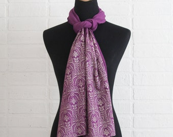 Soft purple jersey-knit bamboo scarf with hand-printed metallic Art Deco floral pattern