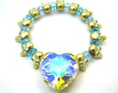 Gold Crystal Skull Heart Bracelet - Pastel Rainbow Aurora Boreale - Elastic Sparkly Statement Jewelry