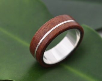Size 13 READY TO SHIP Asi Guapinol Wood Ring - sustainable wedding ring in rosewood