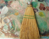 Vintage Fits Rite Whisk Broom Primitive Cottage Kitchen Green Stitch FREE SHIPPING