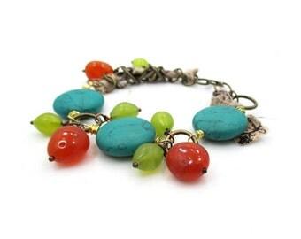 Turquoise Blue Bracelet, Fabric Bracelet, Colorful Bracelet,  Hand made Jewelry, Turquoise Bracelet, Boho Jewelry, Beaded Bracelet, JILLIAN