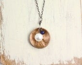 Cupped Penny and Pearl Necklace