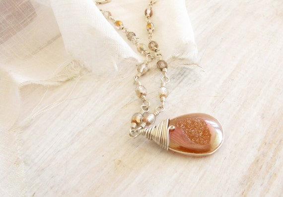 Peach Druzy Quartz Pendant Necklace Sterling Silver Wire Wrapped Drusy Handmade Jewelry # 75