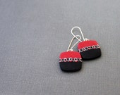 Black and red earrings. Sterling Silver ear wires. Contemporary jewelry. Polymer clay Organic. Rounded square.