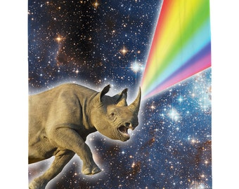 Rhino Galaxy Shower Curtain, Space Shower Curtain, Unicorn Art, Space Decor, Rhino Shower Curtain, Animal Shower Curtain With Hooks