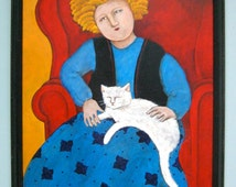 white cat art - Sandy Mastroni , acrylic 18 x 22 -  gallery art- primary colors- woman and cat- outsider art-contemporary folk- pet lover