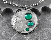 Steampunk Emerald Green Necklace - Clockwork Envy by COGnitive Creations