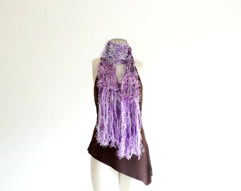Fringe Scarf in Lilac Purple and Grey Ribbon Scarf Light Purple Scarf, Lilac Scarf Women Scarves
