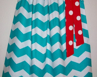 Pillowcase Dress Dr Seuss Dress Chevron Dress Turquoise and Red Dots Dr Seuss Party Kids Seuss Clothes Dr Seuss Day Seuss Colors