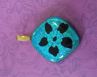 Aqua Blue Dichroic Pendant, Flower Pendant, Glass Fusing Jewelry, Turquoise Blue Fused Glass Pendant, Jewelry - Fan Dance - 3033-2