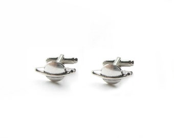 Saturn Cufflinks, Planet Space Cufflnks, Men Cuff links, Antiqued Silver Cufflinks, astronomical Jewelry gift for Men astronomy UFO