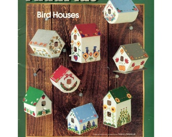 Aida Plus Bird Houses Cross Stitch Pattern - Eight Birdhouse Designs - EZ Crafts 4754