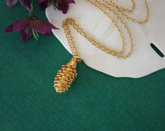 Gold Pinecone Necklace, Gold, Real PineCones, Gold Pine Cones, PC26